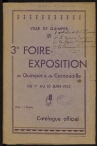 Catalogue de la foire-exposition de Quimper et de Cornouaille : du 1er au 10 juin 1935 / Quimper ; Le Guennec Louis | Le Guennec, Louis