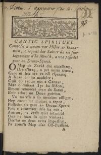 Cantic spirituel composet a nevez var Histor ar Gananeen, o requeti hor Salver da rei soulageamant d'he Merc'h a voa possedet gant an Drouc-Speret. |