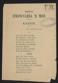 Kantik Itron-Varia 'r mor : Ton : Breuriez ar Feiz |