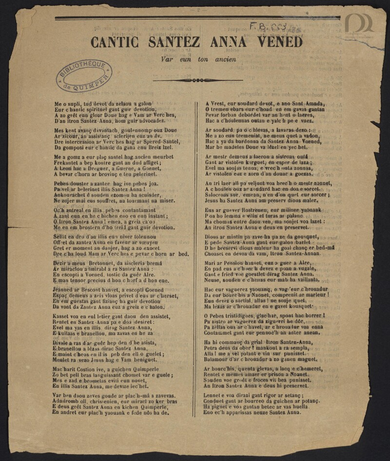 Cantic Santez Anna Vened : Var eun ton ancien |