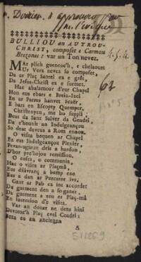 Bulliou an autrou-christ, composet e Cramou Brezonec : var un ton nevez |